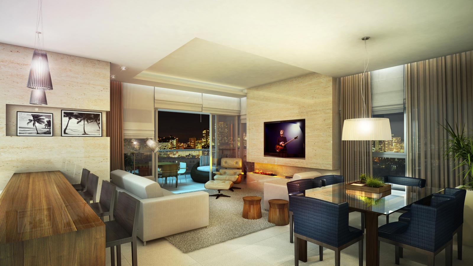 #9C6D2F apartamento sala de estar 3 dorms hall de entrada hall de entrada  1600x900 píxeis em Decoraçao De Salas De Estar Grandes
