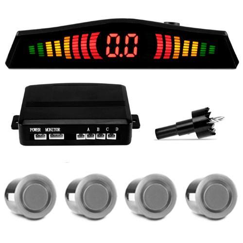 Sensor de estacionamento/ré com display em LED e capsulas pratas