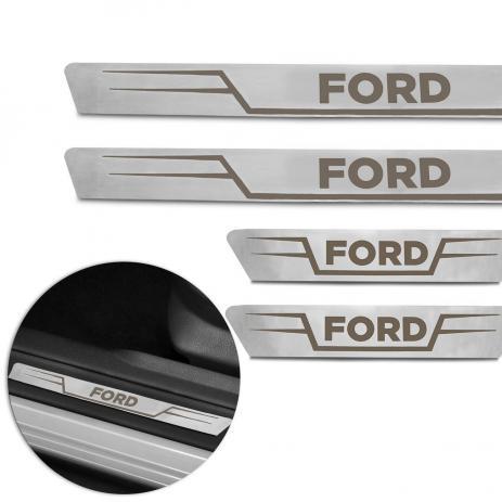 """Jogo de soleiras em inox com led com logo """"Ford"""""""