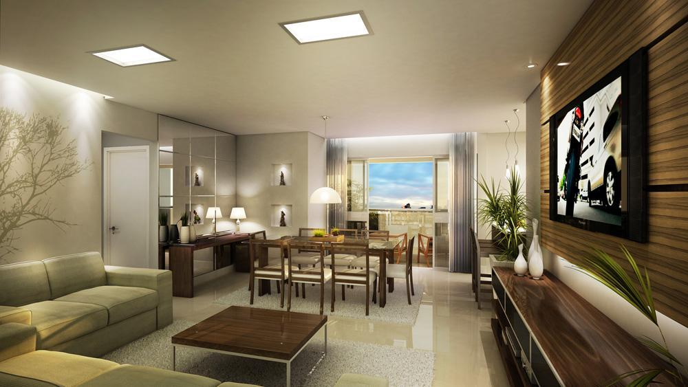 Sala de estar decorada con home theater for Sala de estar con tv